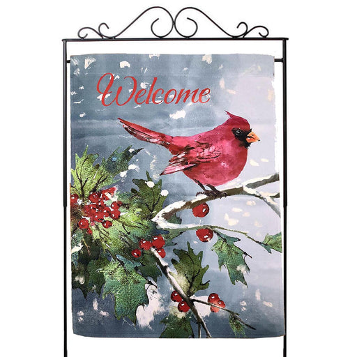 "Welcome Christmas Cardinal House Flag - 28""x40"""