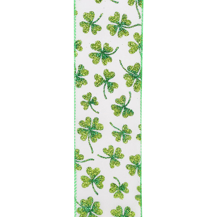 "St. Patrick's Day Clovers Ribbon - 2 1/2"" x 10 Yards, Green Wired Edge, White Ribbon, Glitter Shamrocks, Earth Day, Wreath, Decoration"