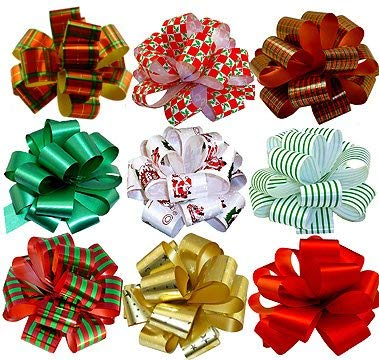 "Christmas Gift Pull Bows - 5"" Wide, Set of 9,"