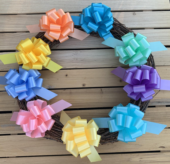 "Easter Gift Basket Pull Bows - 5"" Wide, Set of 9"