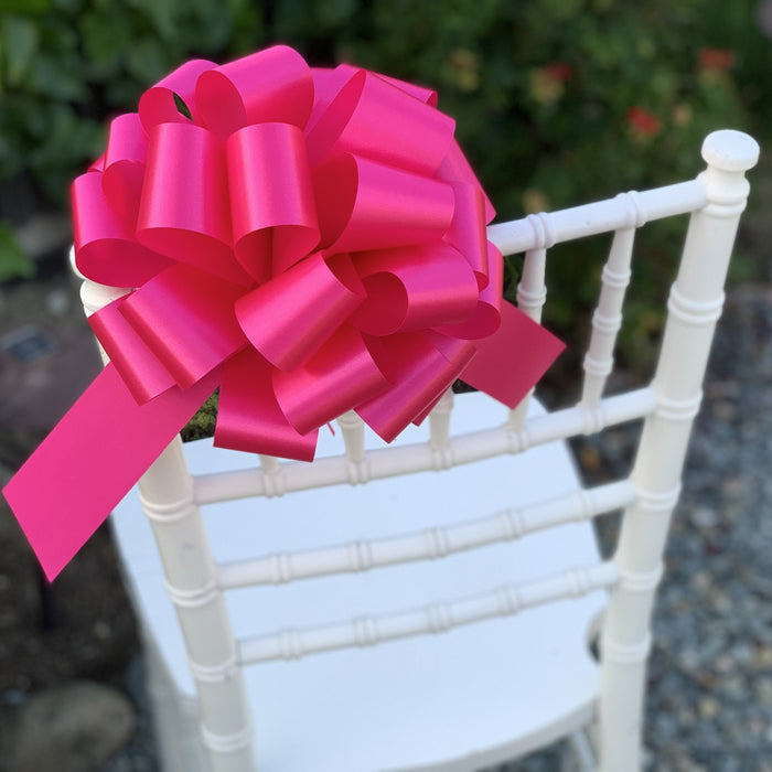 "Large Hot Pink Fuchsia Pull Bows - 9"" Wide, Set of 6"