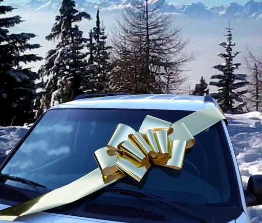 "Big Metallic Gold Car Bow - 25"" Wide"