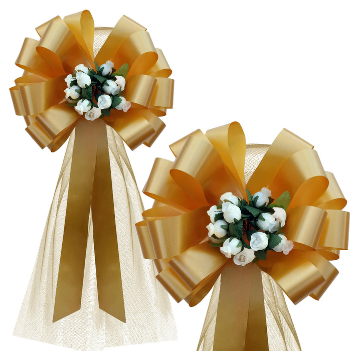 "Gold Wedding Pull Bows with Tulle and Ivory Rosebuds - 8"" Wide, Set of 6"