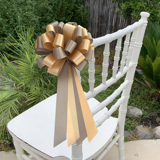 "Gold and Light Brown Pull Bows - 8"" Wide, Set of 6, Wedding Pew Decorations"