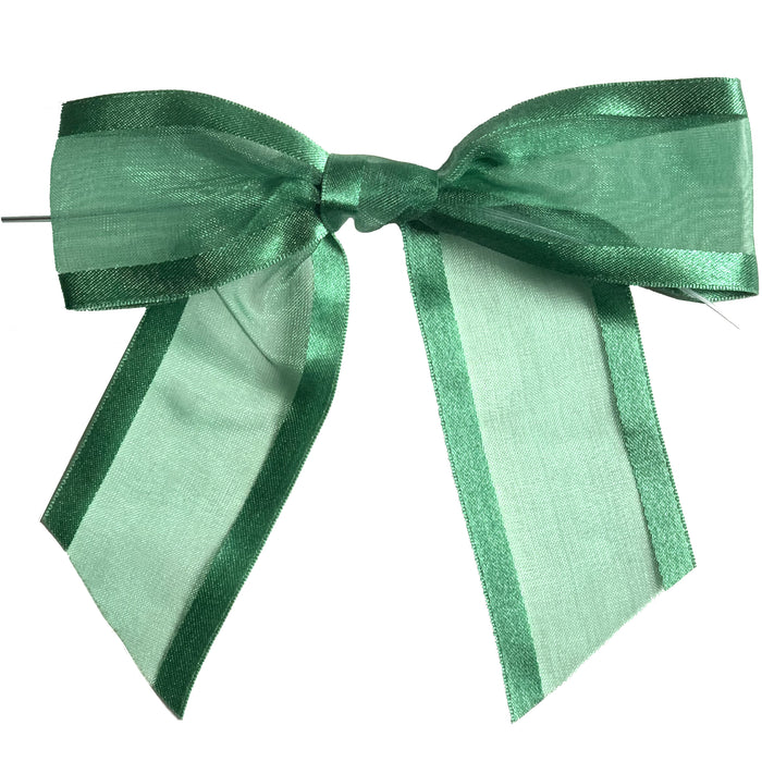 "Pre-Tied Green Organza Bows - 4"" Wide, Set of 12"