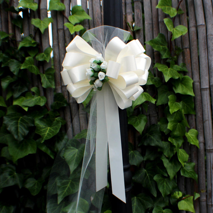Ivory Wedding Pull Bows with Tulle and Rosebuds - Set of 6