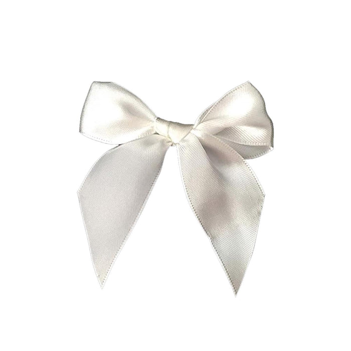 "Ivory Satin Pre-Tied Decorative Bows - 3"" Wide, Set of 10"