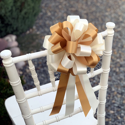 "Ivory and Gold Pull Bows - 8"" Wide, Set of 6, Wedding Pew Decorations"