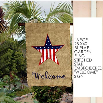 "Patriotic Burlap Welcome House Flag - 28""x40"""
