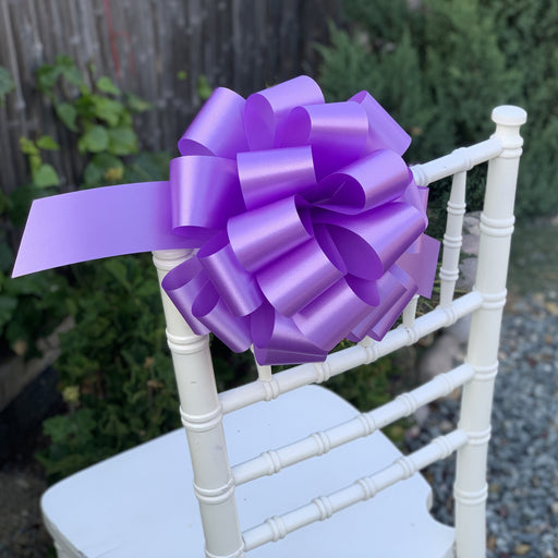 "Large Lavender Ribbon Pull Bows - 9"" Wide, Set of 6"