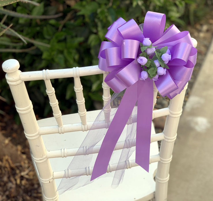 Lavender Wedding Pull Bows with Tulle Tails and Rosebuds - Set of 6