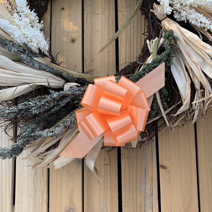 "Peach Decorative Gift Pull Bows - 5"" Wide, Set of 10"