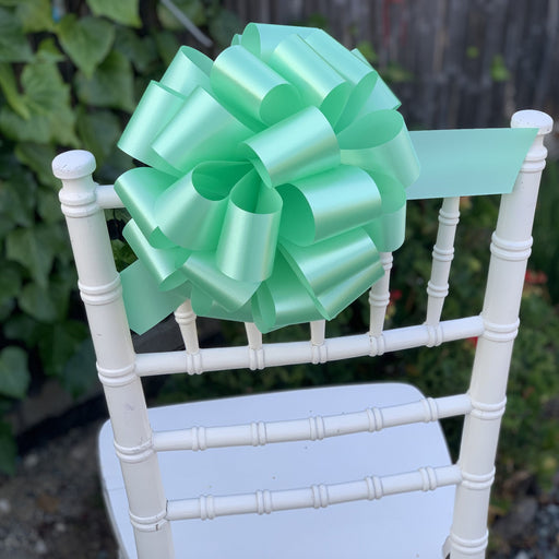 "Large Mint Green Ribbon Pull Bows - 9"" Wide, Set of 6"
