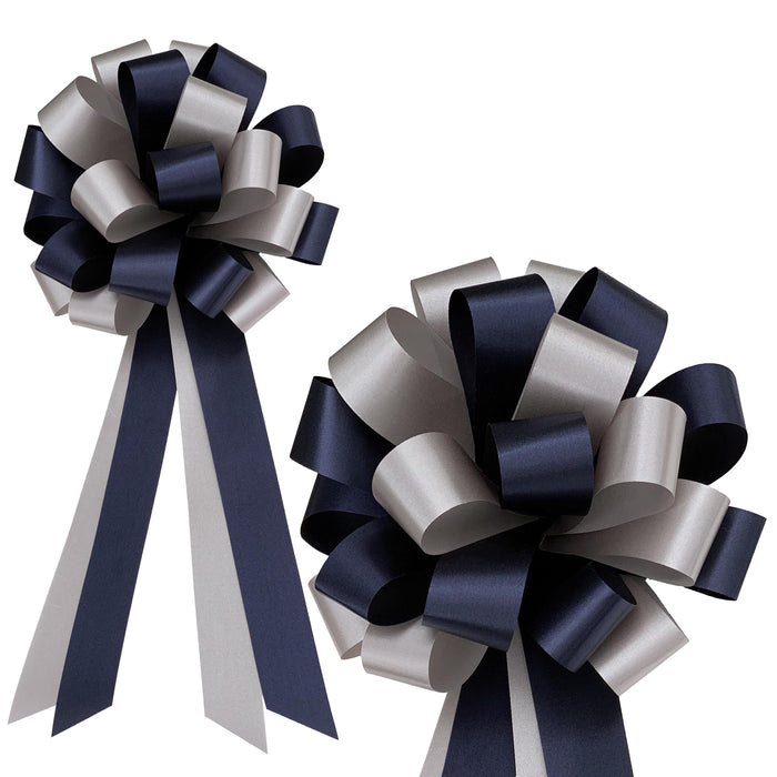 "Navy and Silver Pull Bows - 8"" Wide, Set of 6, Wedding Pew Decorations"