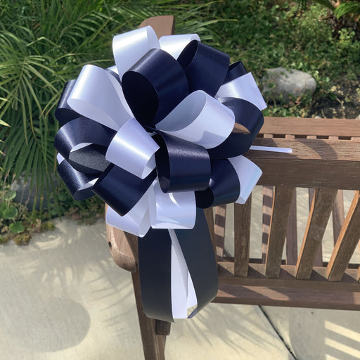 "Navy Blue & White Pull Bows - 8"" Wide, Set of 6, Wedding Pew Decorations"