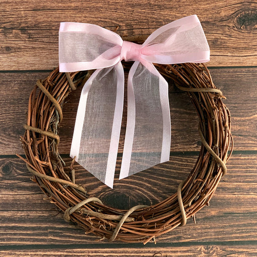 "Pre-Tied Pink Organza Bows - 4"" Wide, Set of 12"