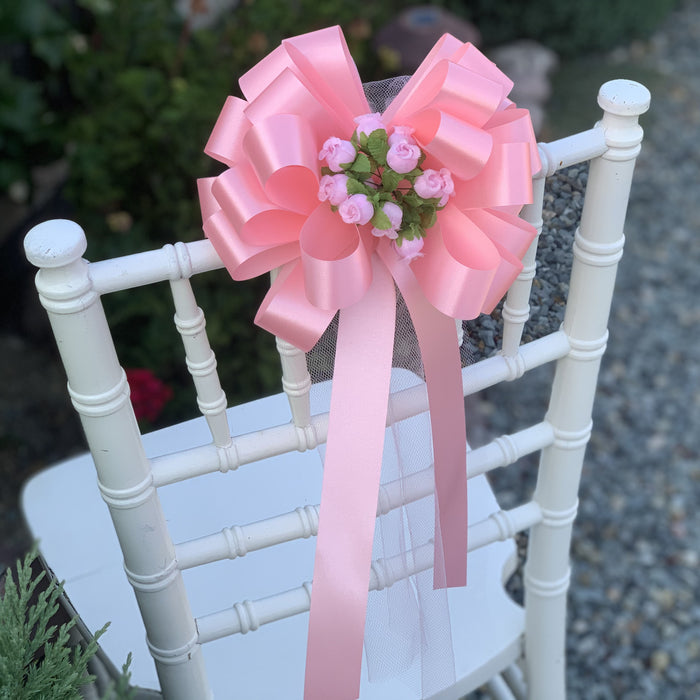 Rose Petal Pink Wedding Pull Bows with Tulle Tails and Rosebuds - Set of 6