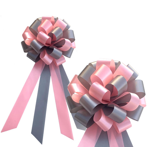 "Pink and Silver Pull Bows - 8"" Wide, Set of 6, Wedding Pew Decorations"