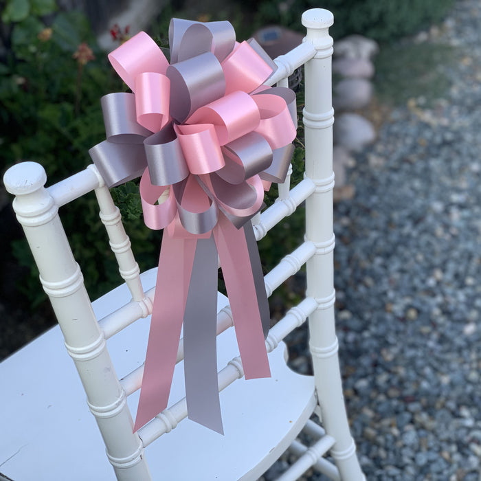 Pink and Silver Pew Bows