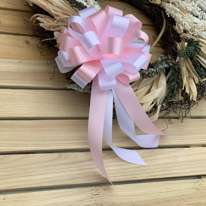 "Pink and White Pull Bows - 8"" Wide, Set of 6, Wedding Pew Decorations"