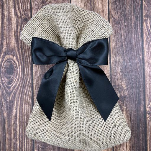 "Pre-Tied Black Satin Bows - 4 1/2"" Wide, Set of 12"