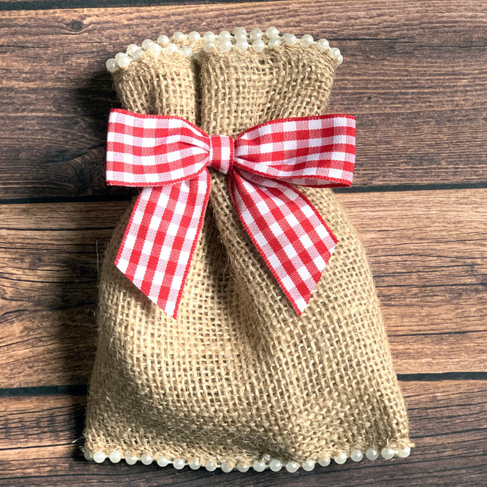 "Red & White Gingham Pre-Tied Bows - 3"" Wide, Set of 12"