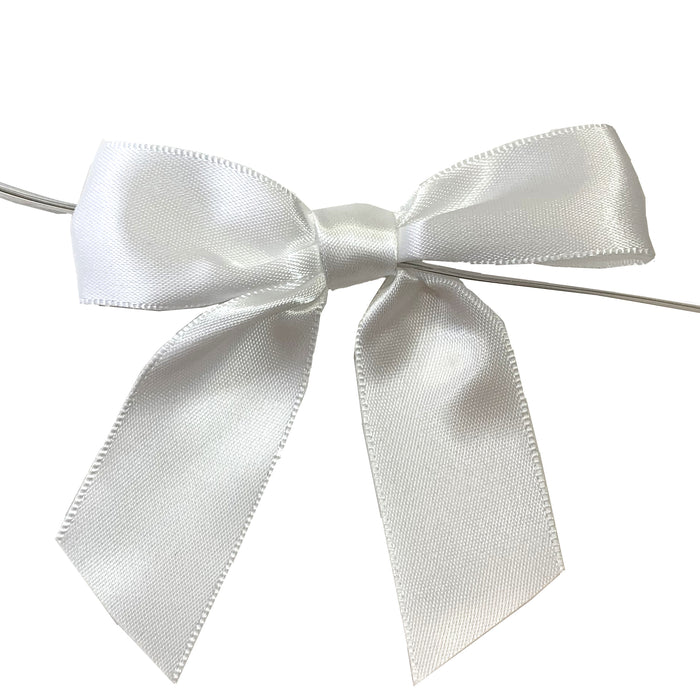 "Pre-Tied White Satin Bows - 4 1/2"" Wide, Set of 12"