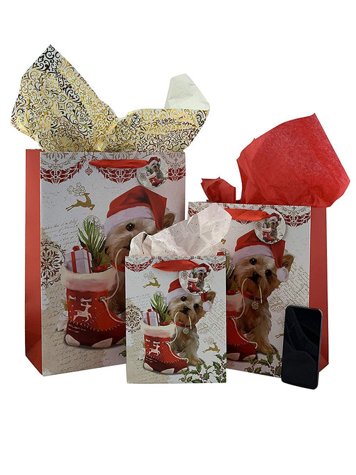 Christmas Santa Puppy Gift Bags - Set of 15