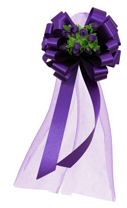 Purple Wedding Pull Bows with Tulle Tails and Rosebuds - Set of 6