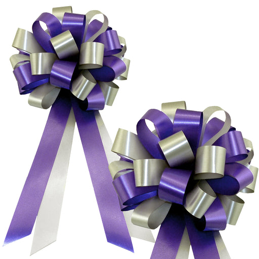 "Purple and Silver Pull Bows - 8"" Wide, Set of 6, Wedding Pew Decorations"
