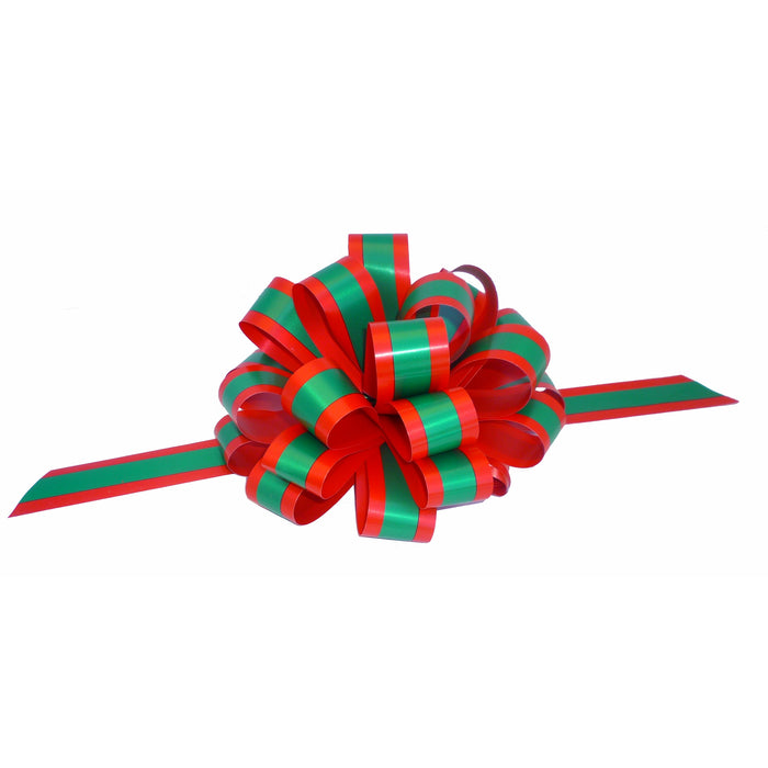"Red and Emerald Green Striped Pull Bows with Tails - 8"" Wide, Set of 6"
