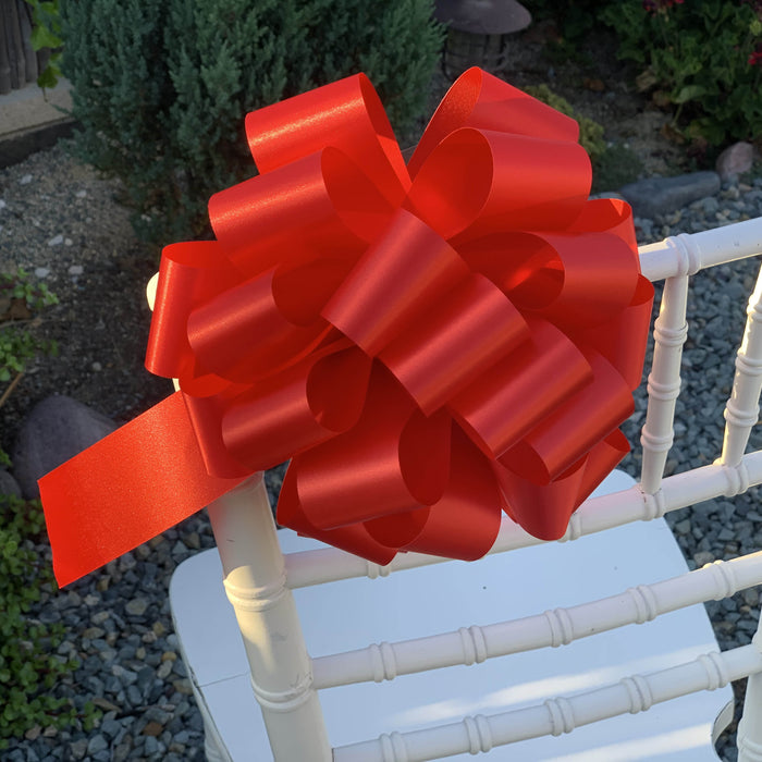 "Large Red Ribbon Pull Bows - 9"" Wide, Set of 6"