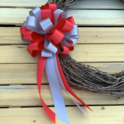 "Red and Silver Pull Bows - 8"" Wide, Set of 6, Wedding Pew Decorations"