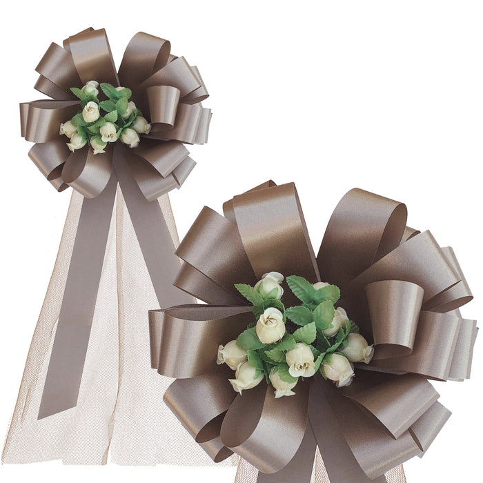 "Light Brown Wedding Pull Bows with Tulle and Rosebuds - 8"" Wide, Set of 6"