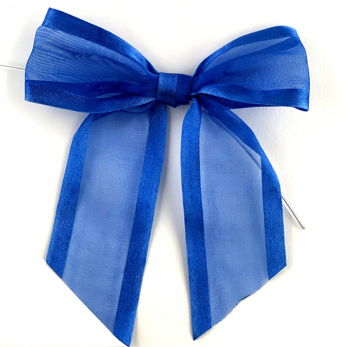 "Pre-Tied Royal Organza Bows - 4"" Wide, Set of 12"