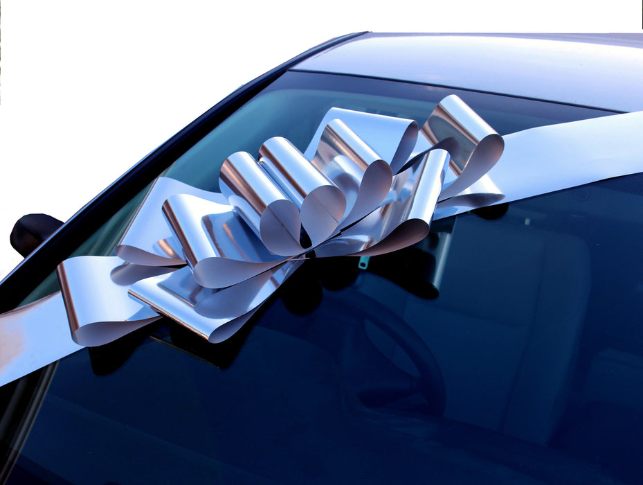 "Big Metallic Silver Car Bow - 25"" Wide"