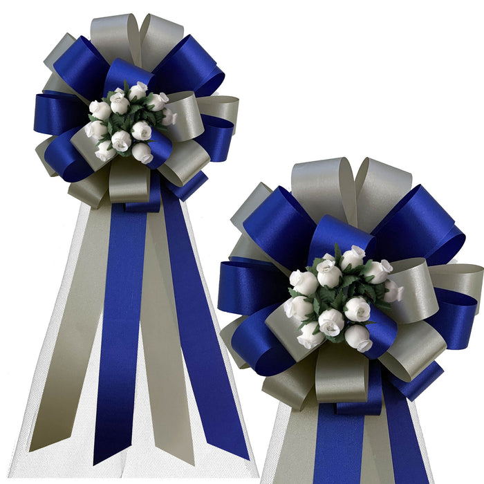 "Royal Blue and Silver Wedding Pull Bows with Tulle Tails and Rosebuds - 8"" Wide, Set of 6"