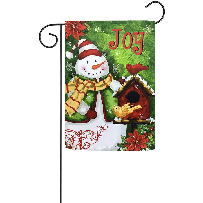 "Christmas Joy Snowman Garden Flag - 12"" x 18"""