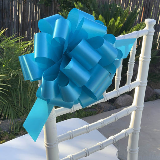 "Turquoise Decorative Ribbon Pull Bows - 9"" Wide, Set of 6"