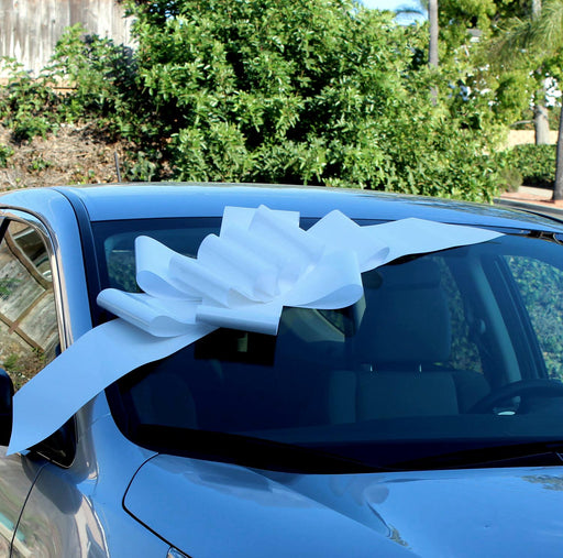 "Big White Car Bow Ribbon - 25"" Wide"