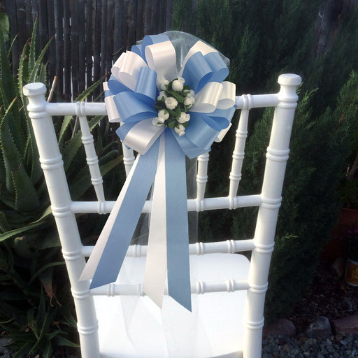baby-blue-white-wedding-pull-bows-with-rosebuds