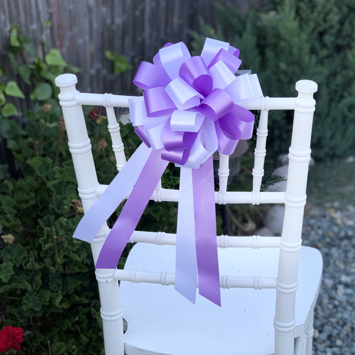 "Lavender and White Pull Bows - 8"" Wide, Set of 6, Wedding Pew Decorations"