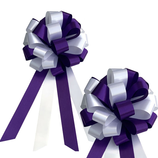 "Purple and White Pull Bows - 8"" Wide, Set of 6, Wedding Pew Decorations"