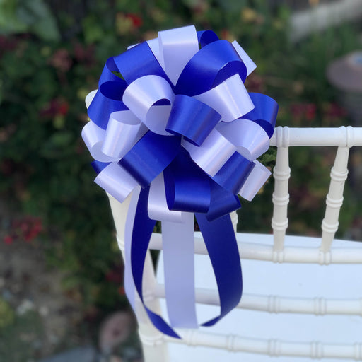 "Royal Blue and White Pull Bows - 8"" Wide, Set of 6, Wedding Pew Decorations"