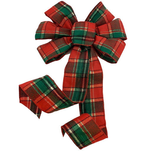 "Green Red Plaid Christmas Bow - 10"" Wide, 18"" Long"