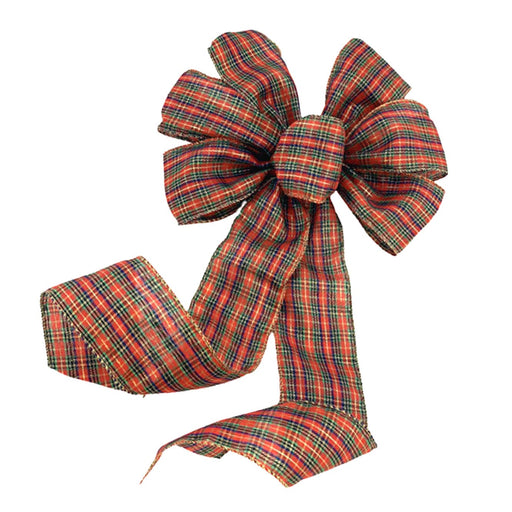 "Christmas Tartan Ribbon Wreath Bow - 10"" Wide, 18"" Long"