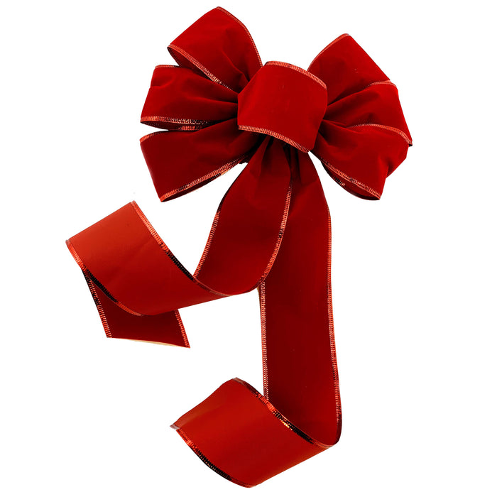 "Red Velvet Christmas Wreath Bow - 10"" Wide, 18"" Long Tails"