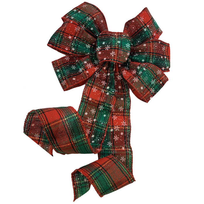 "Snowflake Plaid Christmas Wreath Bow - 10"" Wide, 18"" Long"