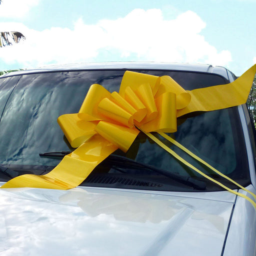 "Big Yellow Car Bow Ribbon - 25"" Wide"