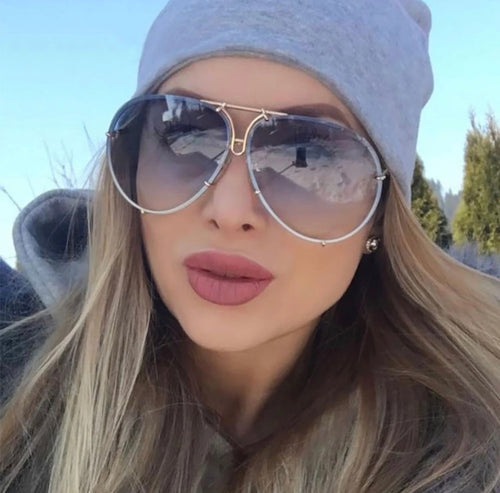 Fashion Sunglasses Women Oversized Luxury Sunglasses Cool Mirror UV400 Eyewear Shades For Women